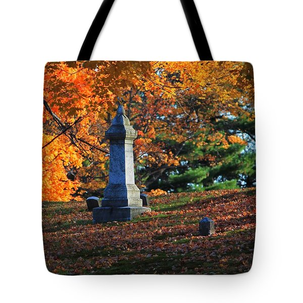 Autumn Cemetery Visit Tote Bag