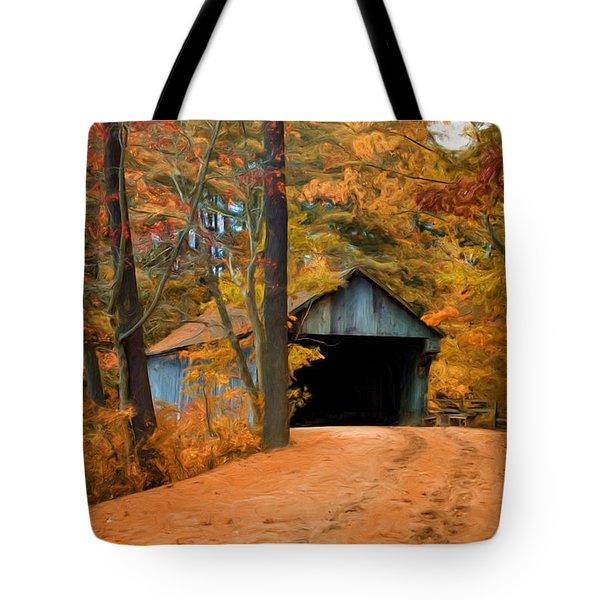 Autumn Covered Bridge Tote Bag by Joann Vitali