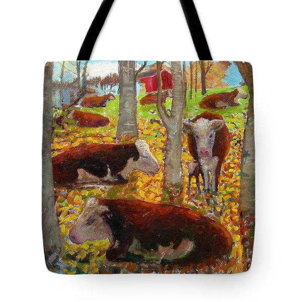 Autumn Cows Tote Bag