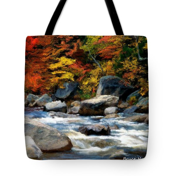 Tote Bag featuring the painting Autumn Creek by Bruce Nutting