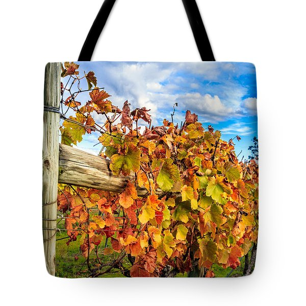 Autumn Falls At The Winery Tote Bag by Peta Thames