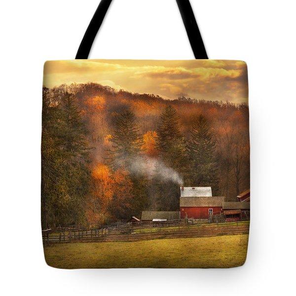 Autumn - Farm - Morristown Nj - Charming Farming Tote Bag by Mike Savad