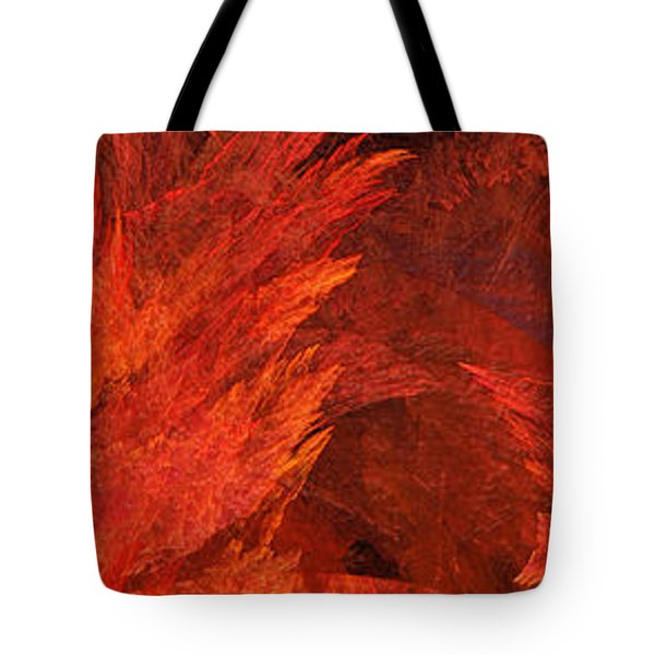 Autumn Fire Abstract Pano 2 Tote Bag by Andee Design