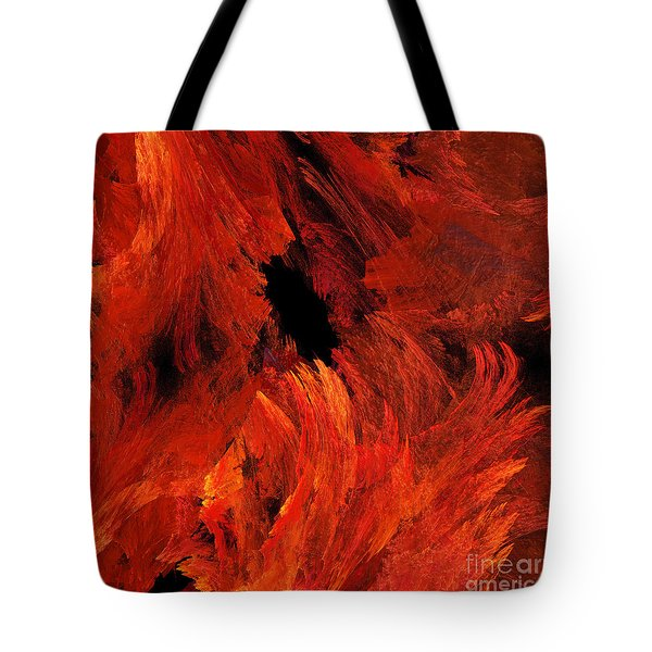 Autumn Fire Abstract Square Tote Bag by Andee Design