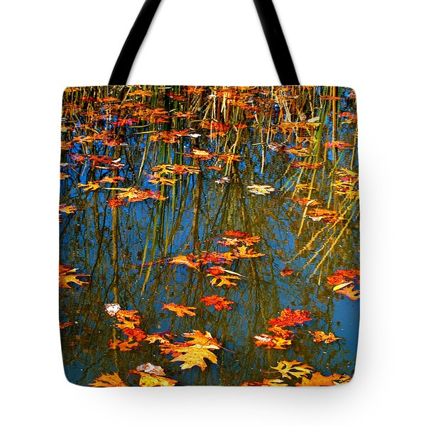 Tote Bag featuring the photograph Autumn  Floating by Peggy Franz