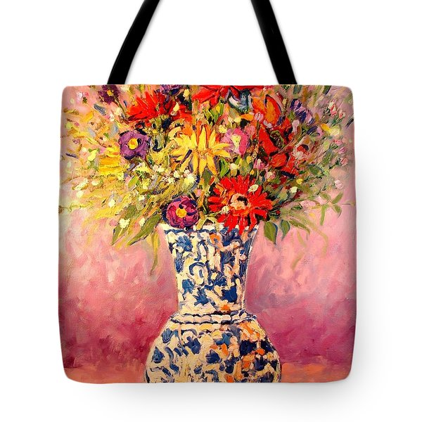 Tote Bag featuring the painting Autumn Flowers by Ana Maria Edulescu