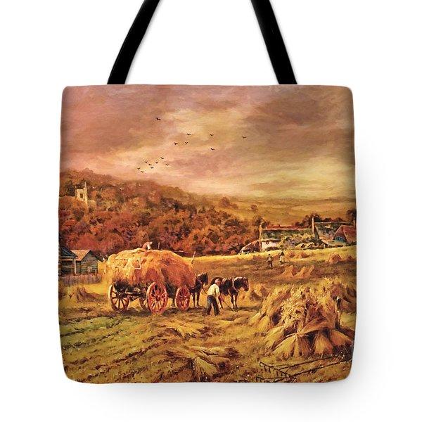 Autumn Folk Art - Haying Time Tote Bag