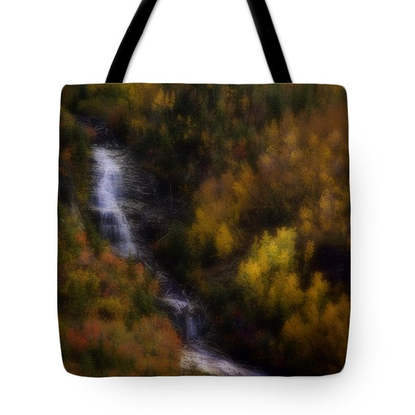 Tote Bag featuring the photograph Autumn Forest Falls by Ellen Heaverlo