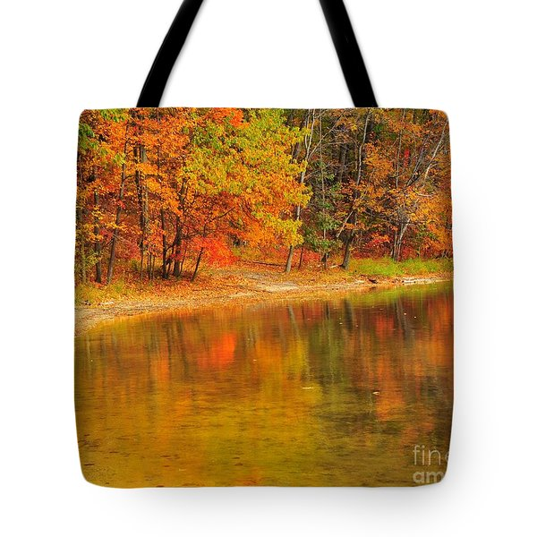 Autumn Forest Reflection Tote Bag by Terri Gostola