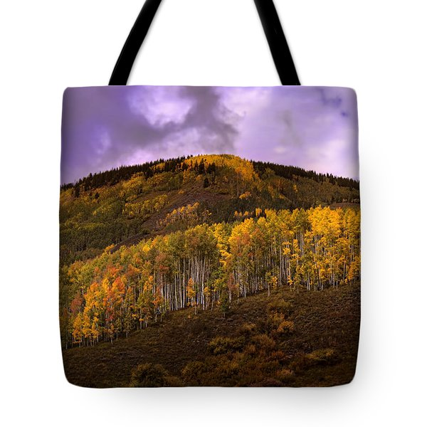 Tote Bag featuring the photograph Autumn Hillside by Ellen Heaverlo