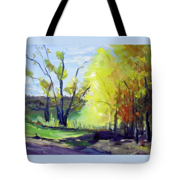 Tote Bag featuring the painting autumn in NY by Jodie Marie Anne Richardson Traugott          aka jm-ART