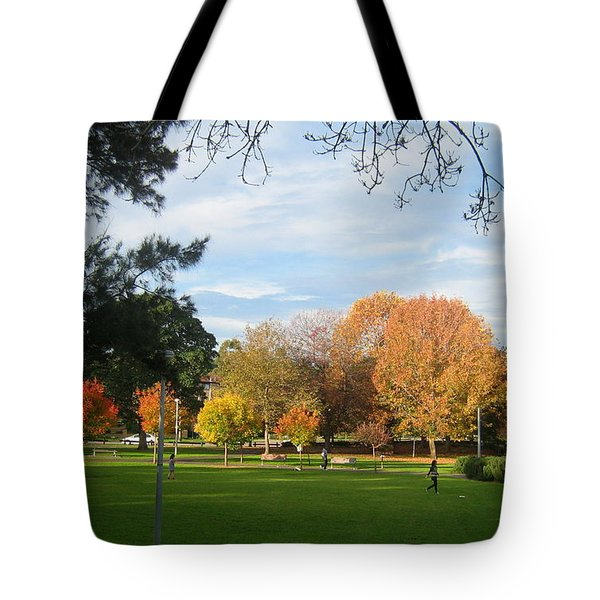 Tote Bag featuring the photograph Autumn In The Park by Leanne Seymour