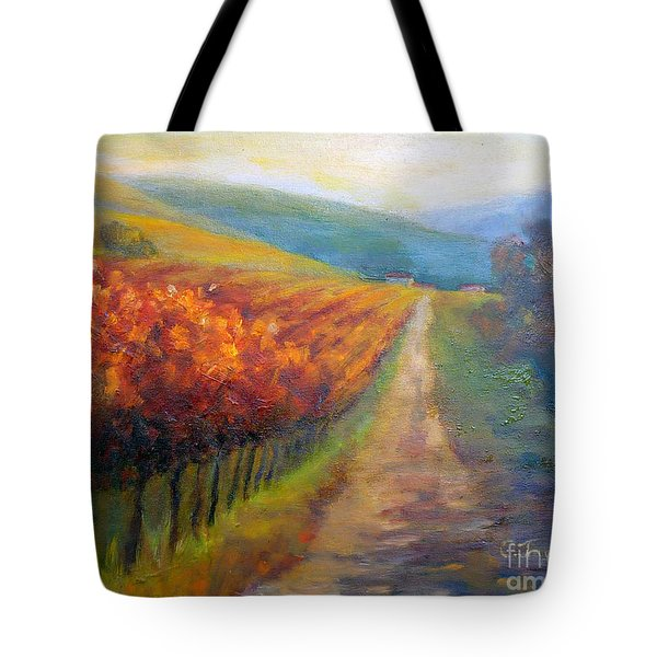 Autumn In The Vineyard Tote Bag by Carolyn Jarvis