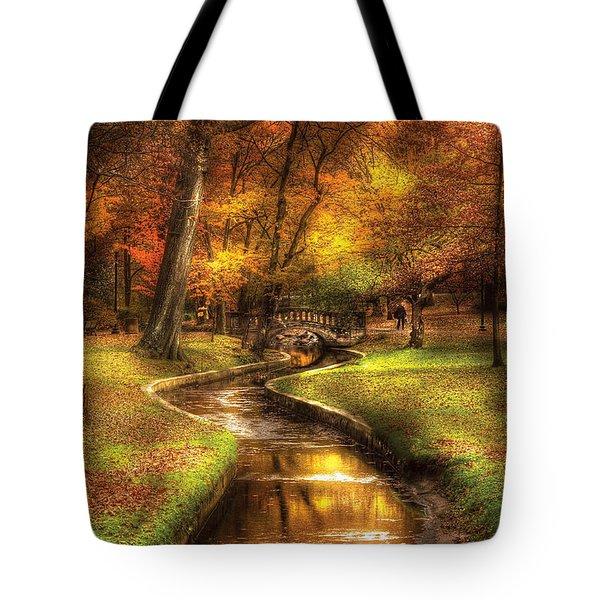 Autumn - Landscape - By A Little Bridge  Tote Bag by Mike Savad