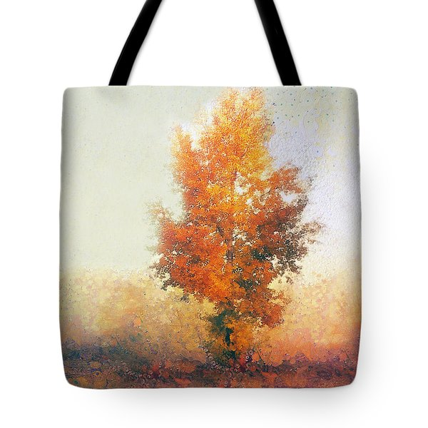 Autumn Landscape With Lonely Tree  Tote Bag by Odon Czintos
