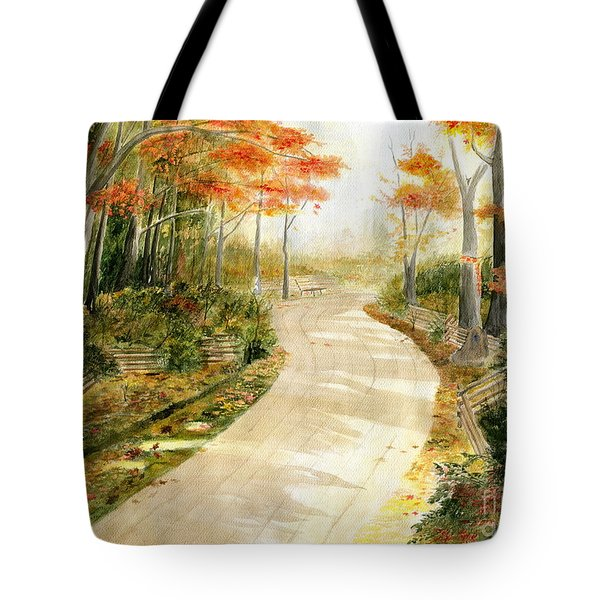 Autumn Lane Tote Bag by Melly Terpening