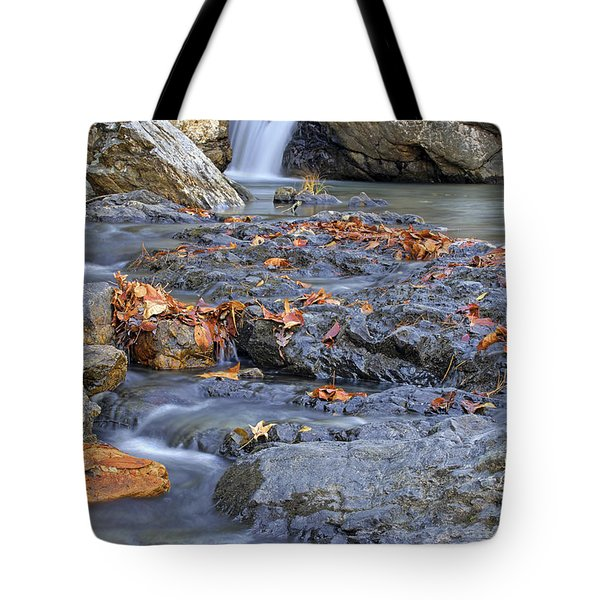 Autumn Leaves At Little Missouri Falls - Arkansas - Waterfall Tote Bag