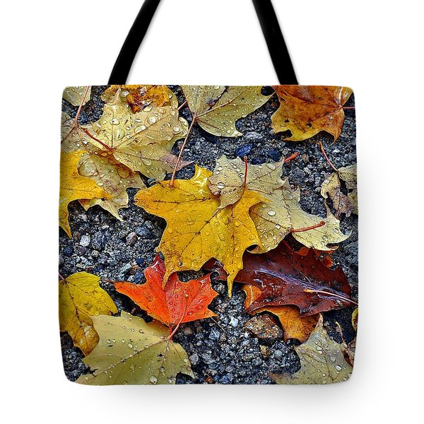 Autumn Leaves In Rain Tote Bag