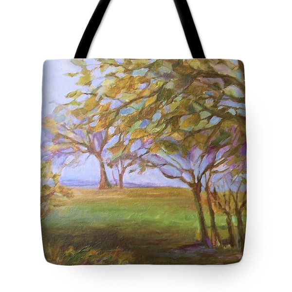 Tote Bag featuring the painting Autumn Leaves by Mary Wolf