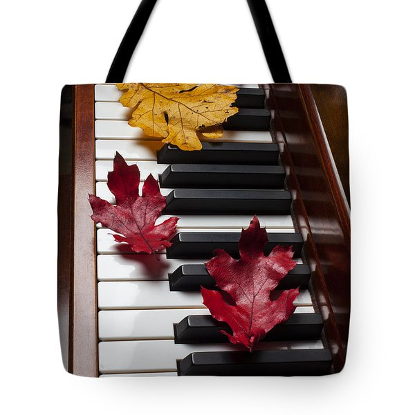 Autumn Leaves On Piano Tote Bag by Garry Gay