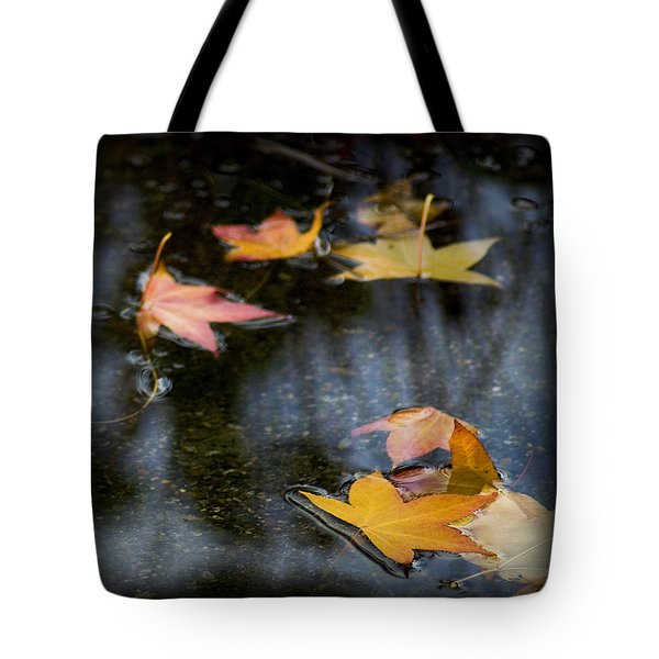 Autumn Leaves On Water Tote Bag