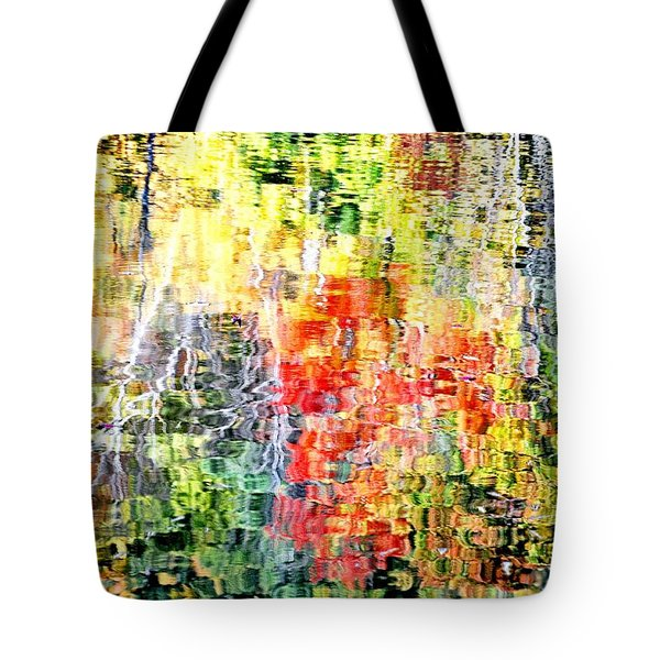 Autumn Leaves Reflected In Pond Surface Tote Bag
