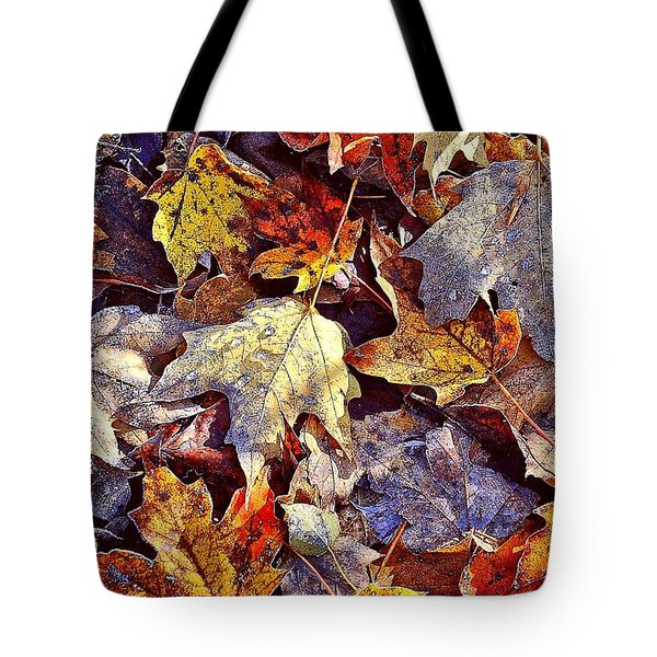 Autumn Leaves With Frost Tote Bag