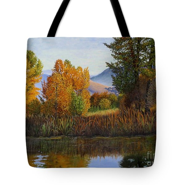 Autumn Light Tote Bag by Beverly Theriault