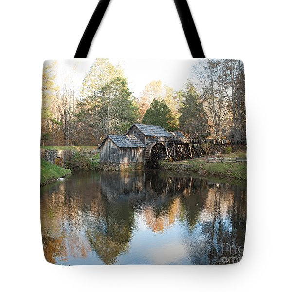 Tote Bag featuring the photograph Autumn Morning At Mabry Mill by Carol Lynn Coronios