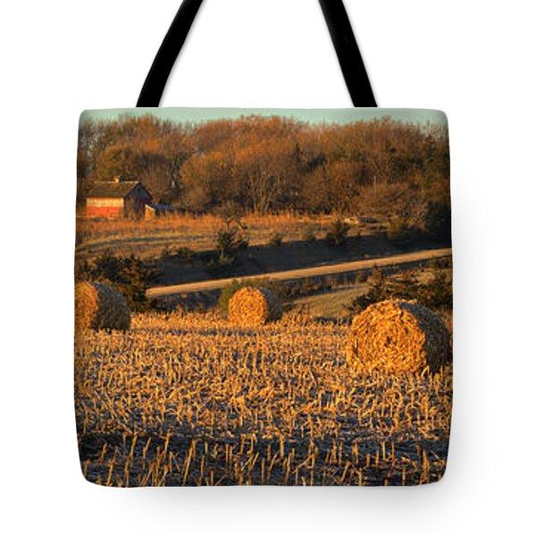 Autumn Morning Bales Tote Bag
