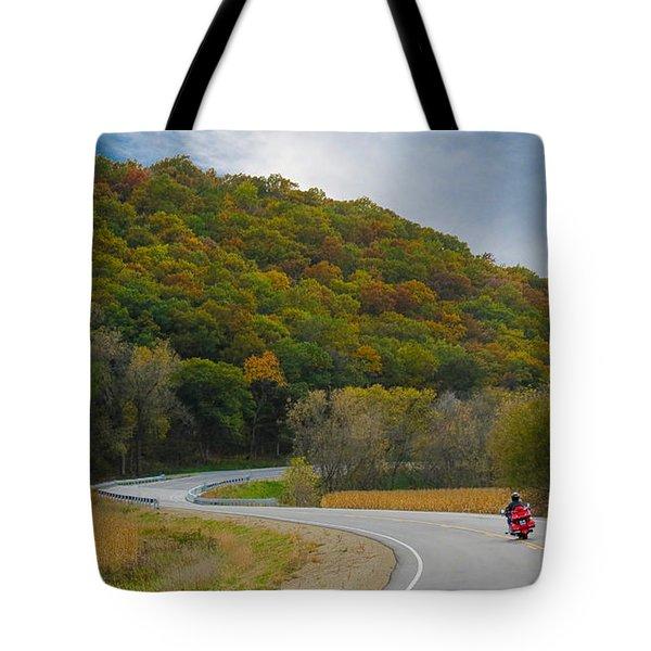 Autumn Motorcycle Rider / Orange Tote Bag