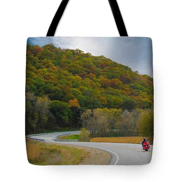 Tote Bag featuring the photograph Autumn Motorcycle Rider / Orange by Patti Deters