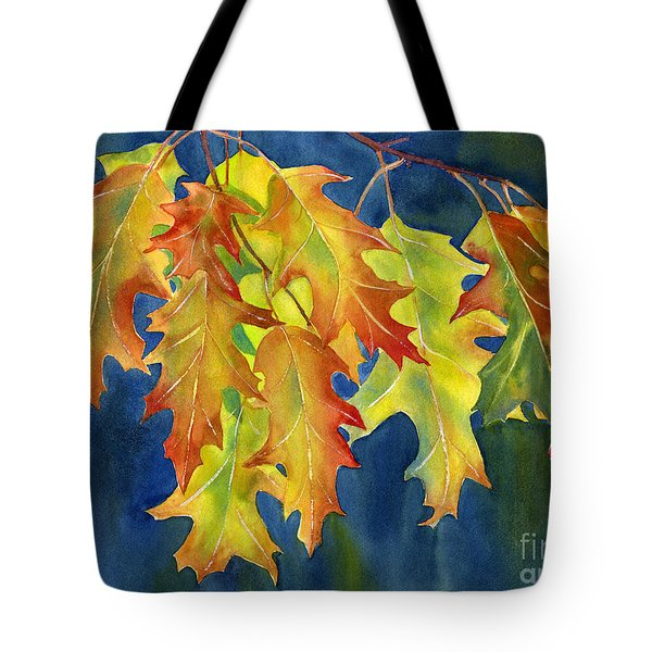 Autumn Oak Leaves  On Dark Blue Background Tote Bag by Sharon Freeman