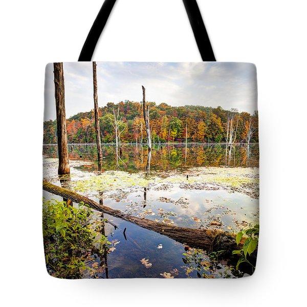 Autumn On Monksville Reservoir - Long Pond Ironworks Tote Bag by Gary Heller