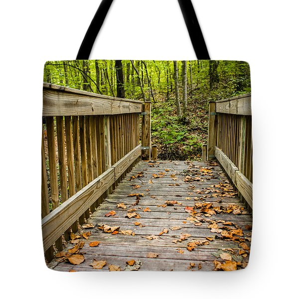 Autumn On The Bridge Tote Bag