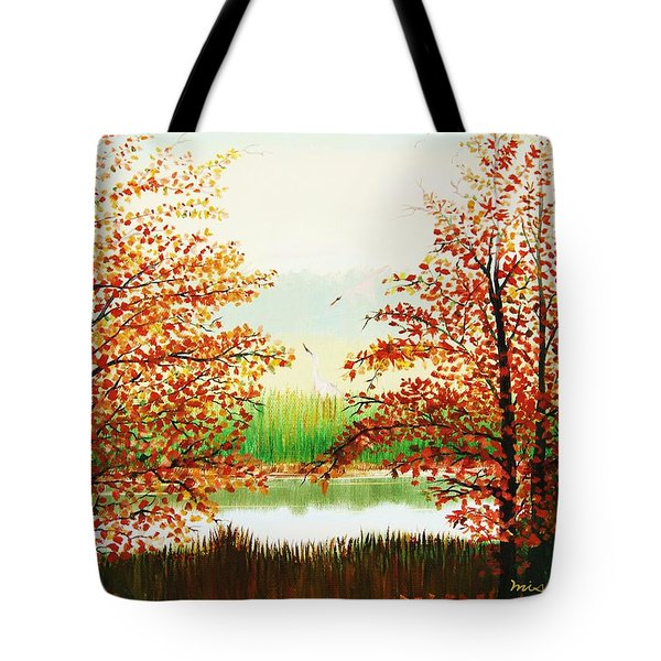 Autumn On The Ema River Estonia Tote Bag