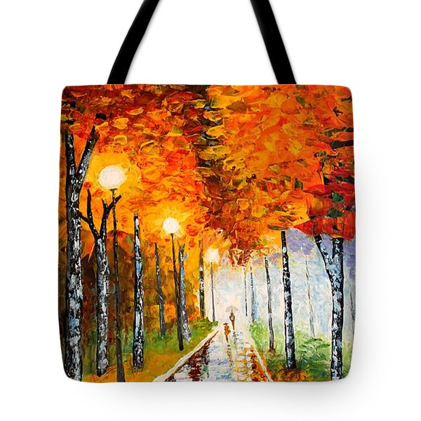 Tote Bag featuring the painting Autumn Park Night Lights Palette Knife by Georgeta  Blanaru