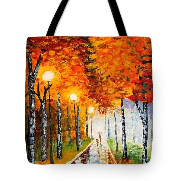 Autumn Park Night Lights Palette Knife Tote Bag