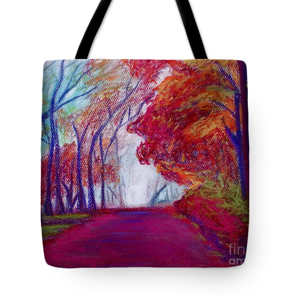 Tote Bag featuring the painting Autumn Path by D Renee Wilson