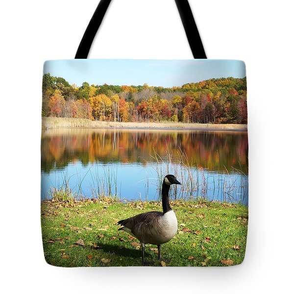 Autumn Pond Goose Tote Bag