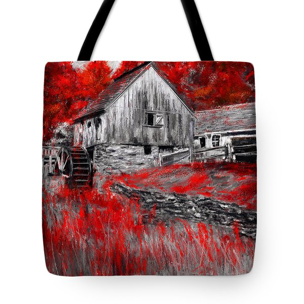 Autumn Promise- Red And Gray Art Tote Bag