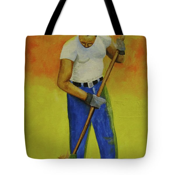 Autumn Raking Tote Bag