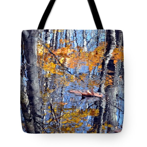 Autumn Reflection With Leaf Tote Bag