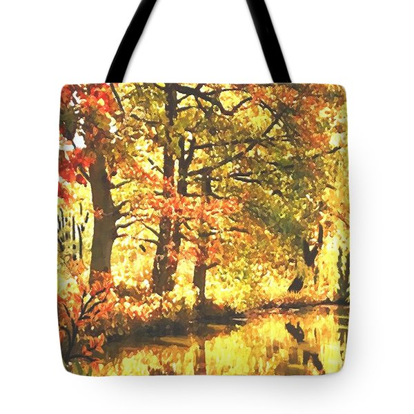 Tote Bag featuring the painting Autumn Reflections by Sophia Schmierer