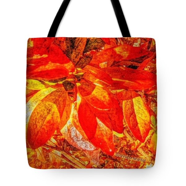Autumn Rhododendron Leaves Bright Tote Bag