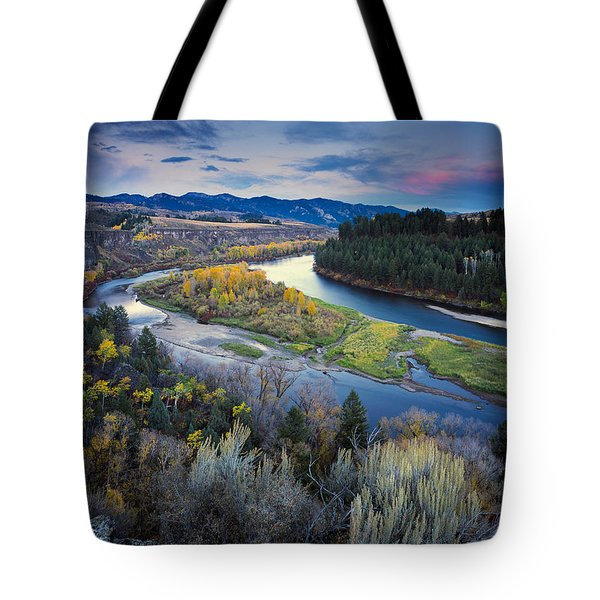 Autumn River Tote Bag by Leland D Howard