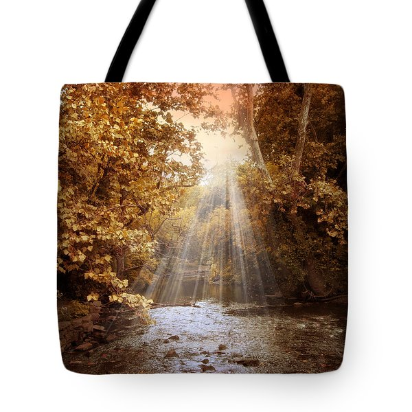 Tote Bag featuring the photograph Autumn River Light by Jessica Jenney