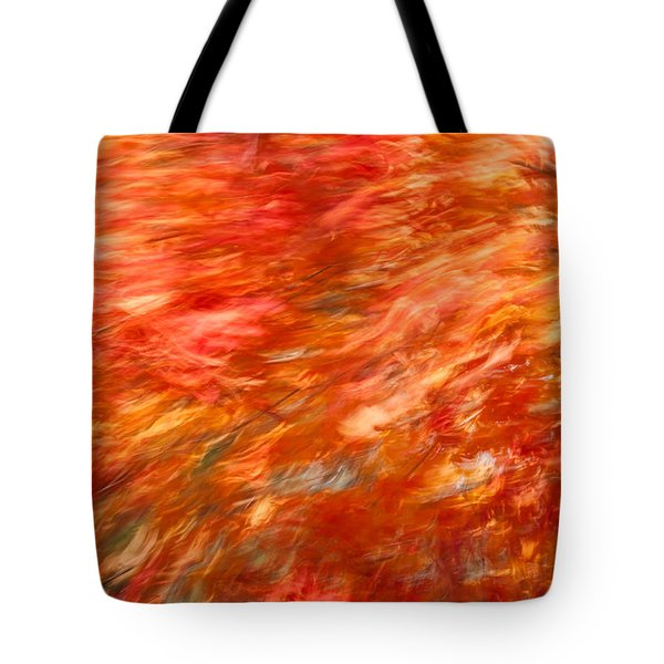 Tote Bag featuring the photograph Autumn River Of Flame by Jeff Folger
