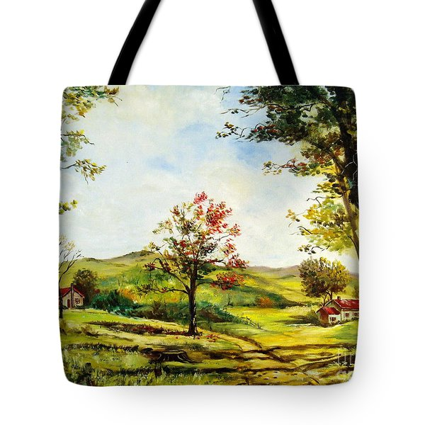 Tote Bag featuring the painting Autumn Road by Lee Piper