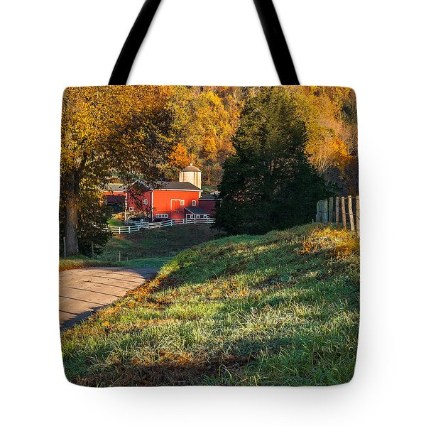 Autumn Road Morning Square Tote Bag by Bill Wakeley